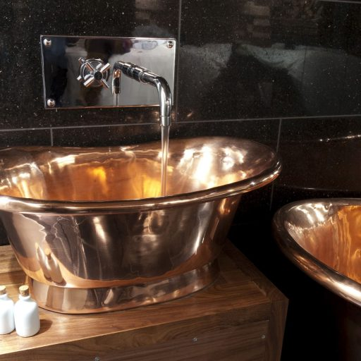 Copper Bateau Basin with Copper Interior