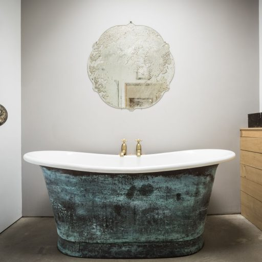 Verdigris Bateau Bath with White Enamel Interior