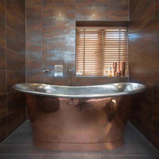 Copper Bateau Bath with Tin Interior