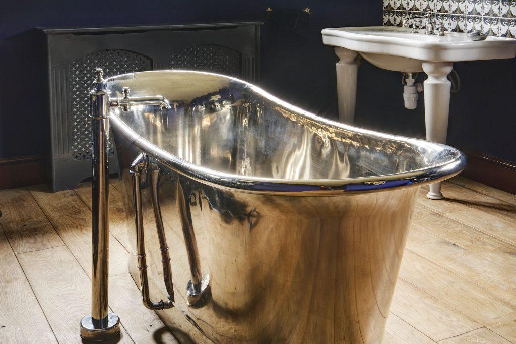 Nickel Bateau Bath with Nickel Interior