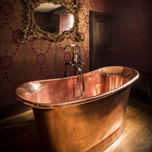 Copper Bateau Bath with Copper Interior