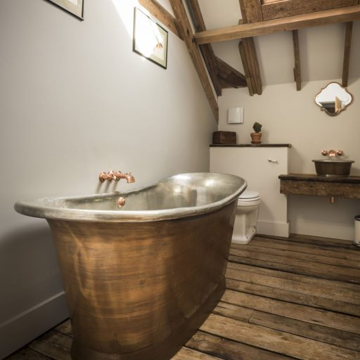 Patina Copper Bateau Bath with Tin Interior