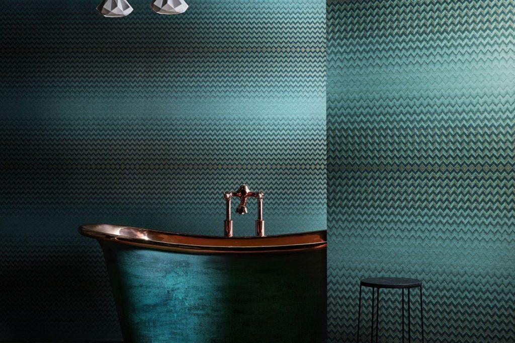 Verdigris Bateau Bath with Copper Interior