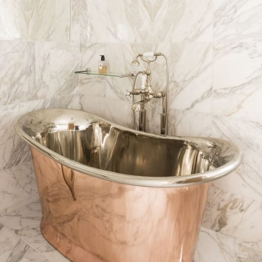Copper Bateau Bath with Nickel Interior