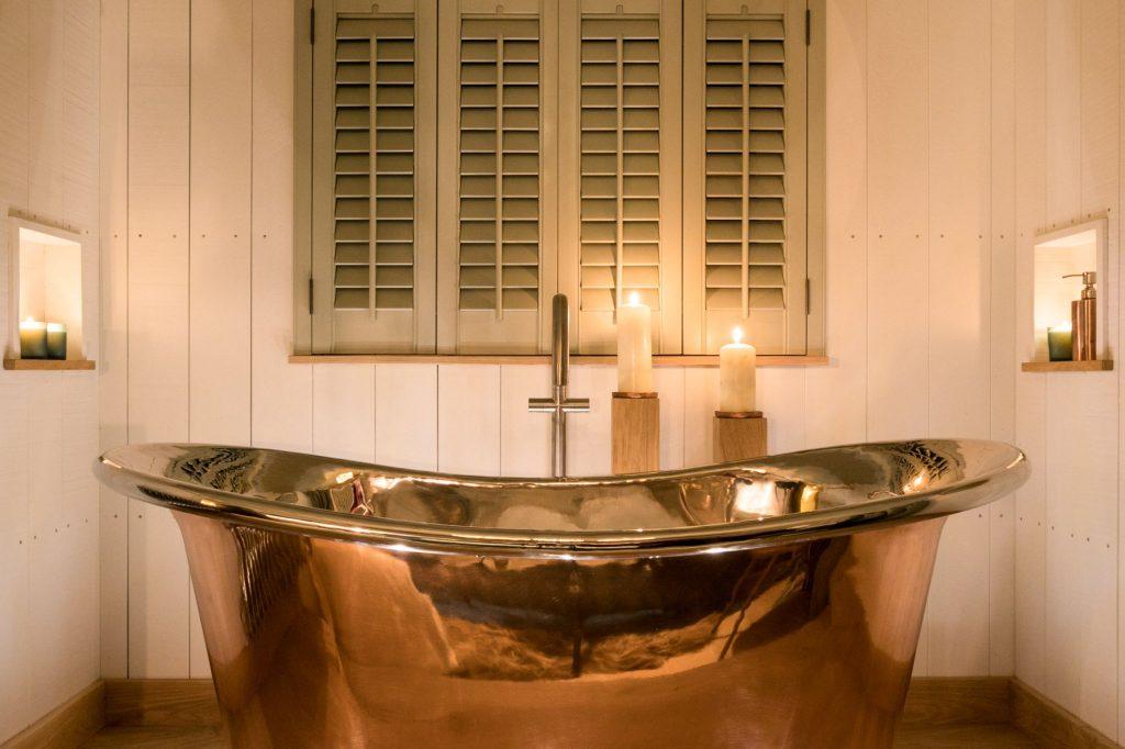 Copper Bateau Bath with Nickel Interior