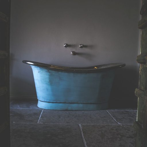 Verdigris Bateau Bath with Tin Interior