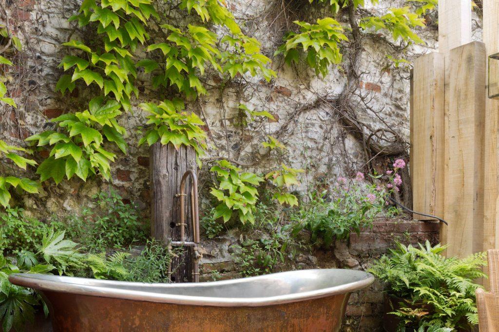 Patina Bateau Bath with Tin Interior