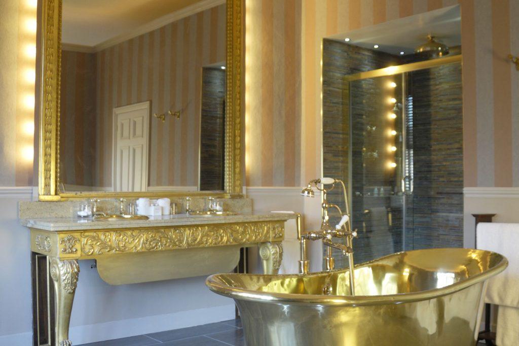 Brass Bateau Bath with Brass Interior