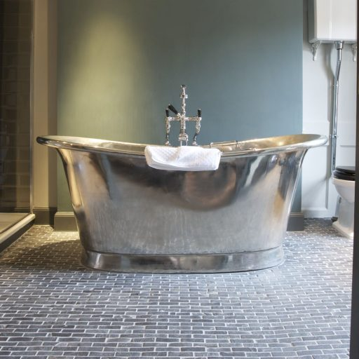 Nickel Bateau Bath with Nickel Interior
