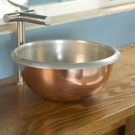 Copper Curva Basin with Tin Interior