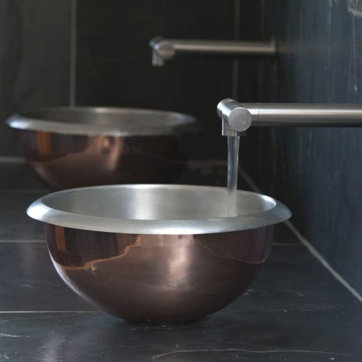 Copper Curva Basin with Tin Interior