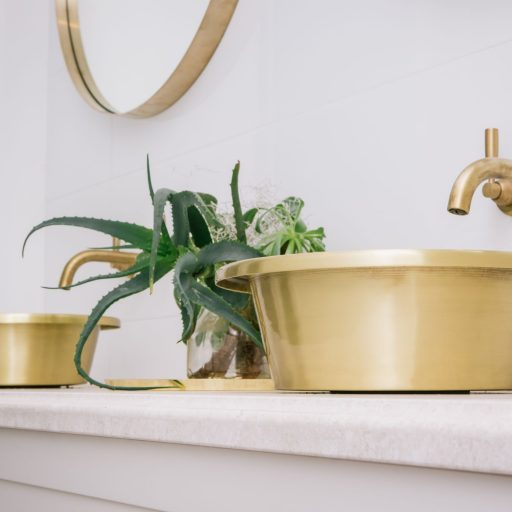 Brushed Brass Orlo Basin with Brushed Brass Interior