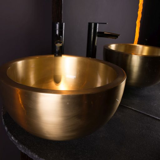 Brushed Brass Perosa Basin with Brushed Brass Interior