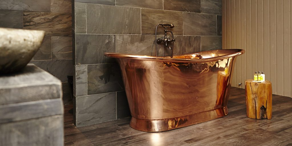 Polished Copper Bateau Bath
