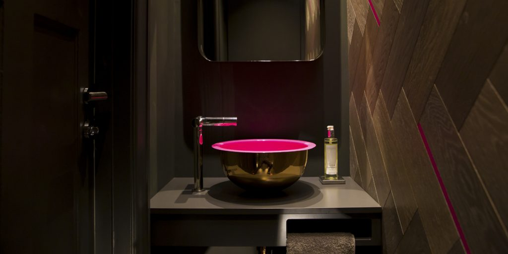 William Holland Brass Basin with Pink Enamel Interior