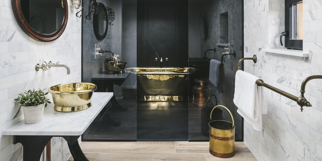 Brass Bath at Barford Beach House